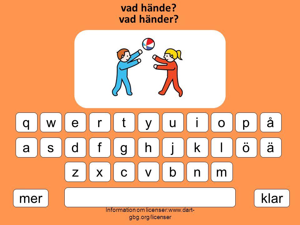Information om licenser:www.dart- gbg.org/licenser vad hände.