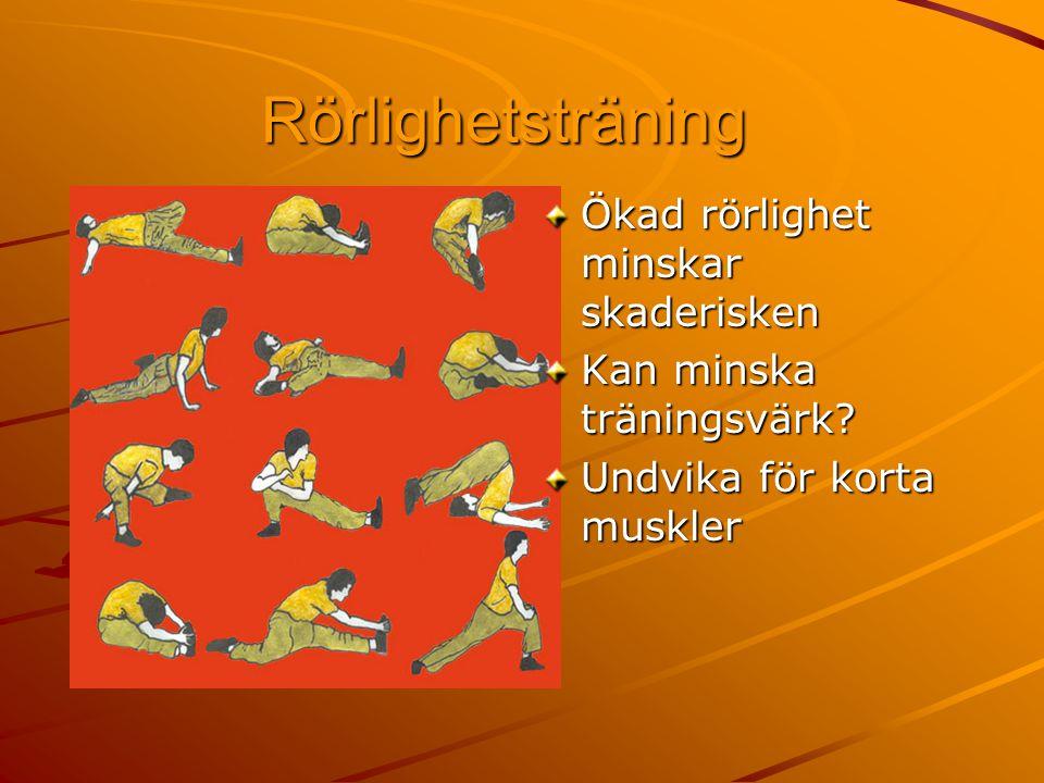 Rörlighetsträning Ökad rörlighet minskar skaderisken Kan minska träningsvärk? Undvika för korta muskler