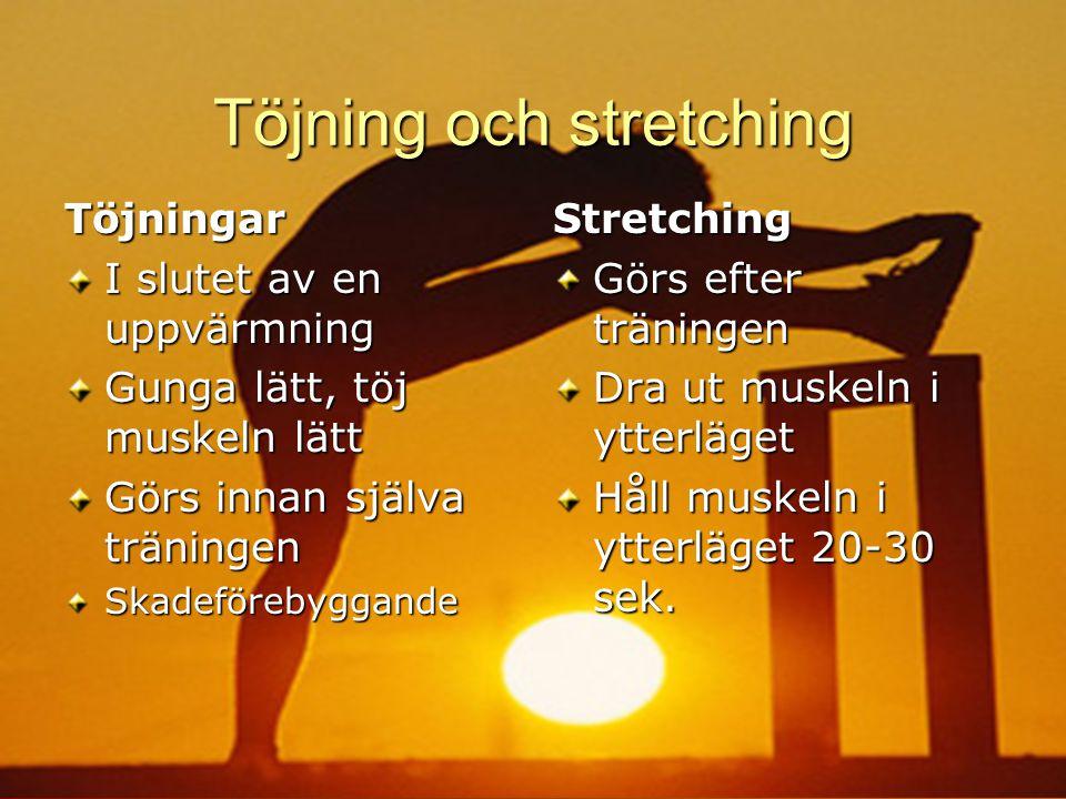 Töjning och stretching Töjningar I slutet av en uppvärmning Gunga lätt, töj muskeln lätt Görs innan själva träningen SkadeförebyggandeStretching Görs