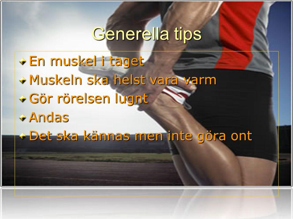 Generella tips En muskel i taget Muskeln ska helst vara varm Gör rörelsen lugnt Andas Det ska kännas men inte göra ont