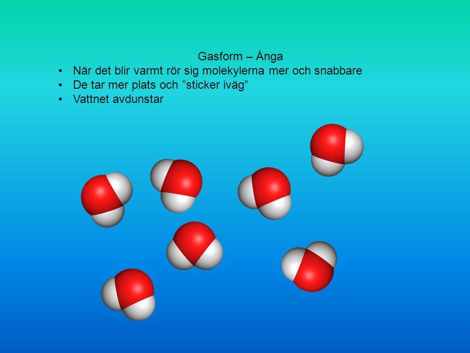 Gasform – Ånga När det blir varmt rör sig molekylerna mer och snabbare De tar mer plats och sticker iväg Vattnet avdunstar