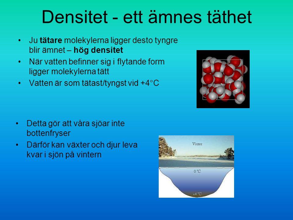 Densitet - ett ämnes täthet Ju tätare molekylerna ligger desto tyngre blir ämnet – hög densitet När vatten befinner sig i flytande form ligger molekylerna tätt Vatten är som tätast/tyngst vid +4°C Detta gör att våra sjöar inte bottenfryser Därför kan växter och djur leva kvar i sjön på vintern
