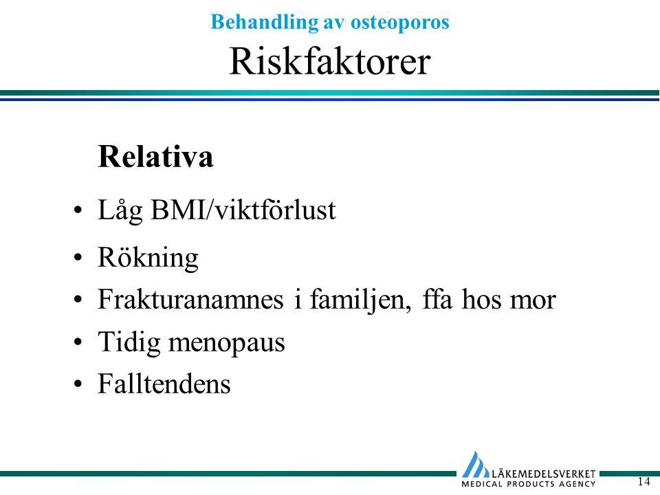 Behandling av osteoporos 14 Riskfaktorer Relativa Låg BMI/viktförlust Rökning Frakturanamnes i familjen, ffa hos mor Tidig menopaus Falltendens