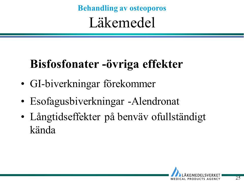 Behandling av osteoporos 25 Läkemedel Bisfosfonater -övriga effekter GI-biverkningar förekommer Esofagusbiverkningar -Alendronat Långtidseffekter på b