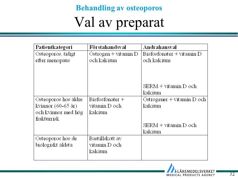 Behandling av osteoporos 32 Val av preparat