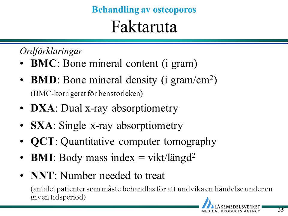 Behandling av osteoporos 35 Faktaruta Ordförklaringar BMC: Bone mineral content (i gram) BMD: Bone mineral density (i gram/cm 2 ) (BMC-korrigerat för