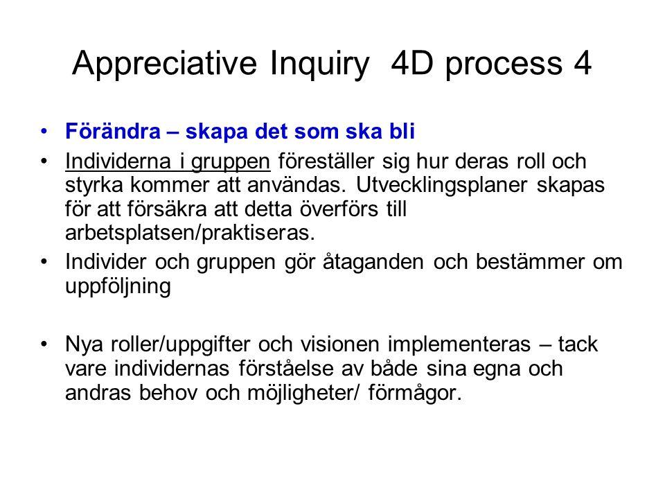 Appreciative Inquiry 4D process 4 Förändra – skapa det som ska bli Individerna i gruppen föreställer sig hur deras roll och styrka kommer att användas