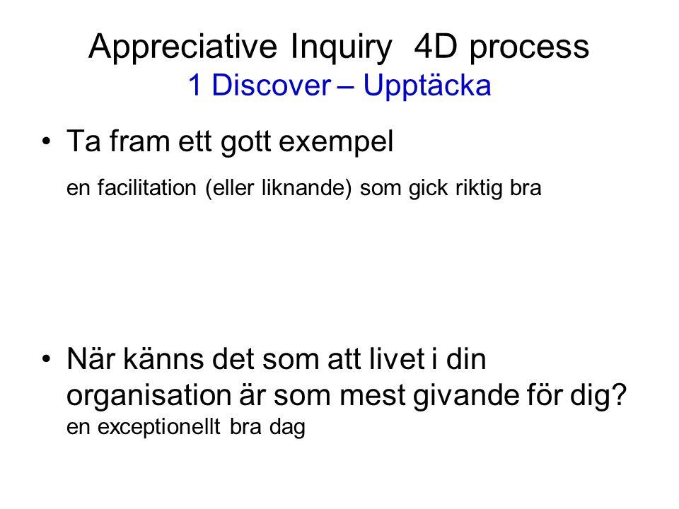 Appreciative Inquiry 4D process 1 Discover – Upptäcka Ta fram ett gott exempel en facilitation (eller liknande) som gick riktig bra När känns det som