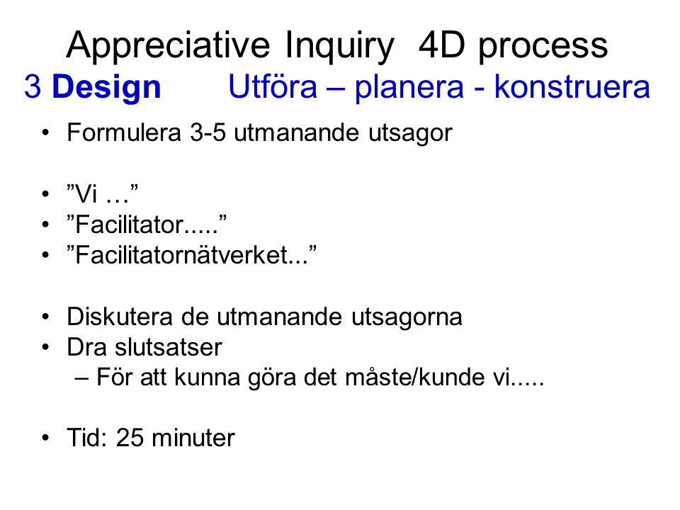 """Appreciative Inquiry 4D process 3 DesignUtföra – planera - konstruera Formulera 3-5 utmanande utsagor """"Vi …"""" """"Facilitator....."""" """"Facilitatornätverket."""