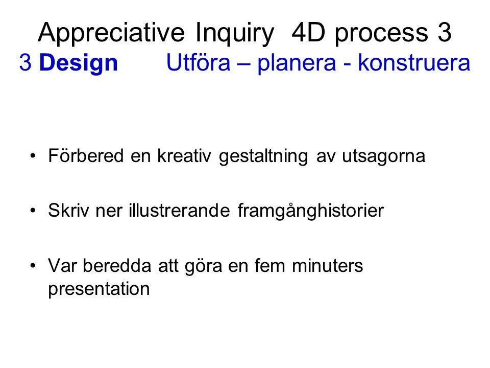Appreciative Inquiry 4D process 3 3 DesignUtföra – planera - konstruera Förbered en kreativ gestaltning av utsagorna Skriv ner illustrerande framgångh