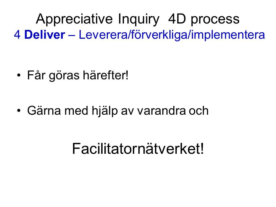 Appreciative Inquiry 4D process 4 Deliver – Leverera/förverkliga/implementera Får göras härefter! Gärna med hjälp av varandra och Facilitatornätverket