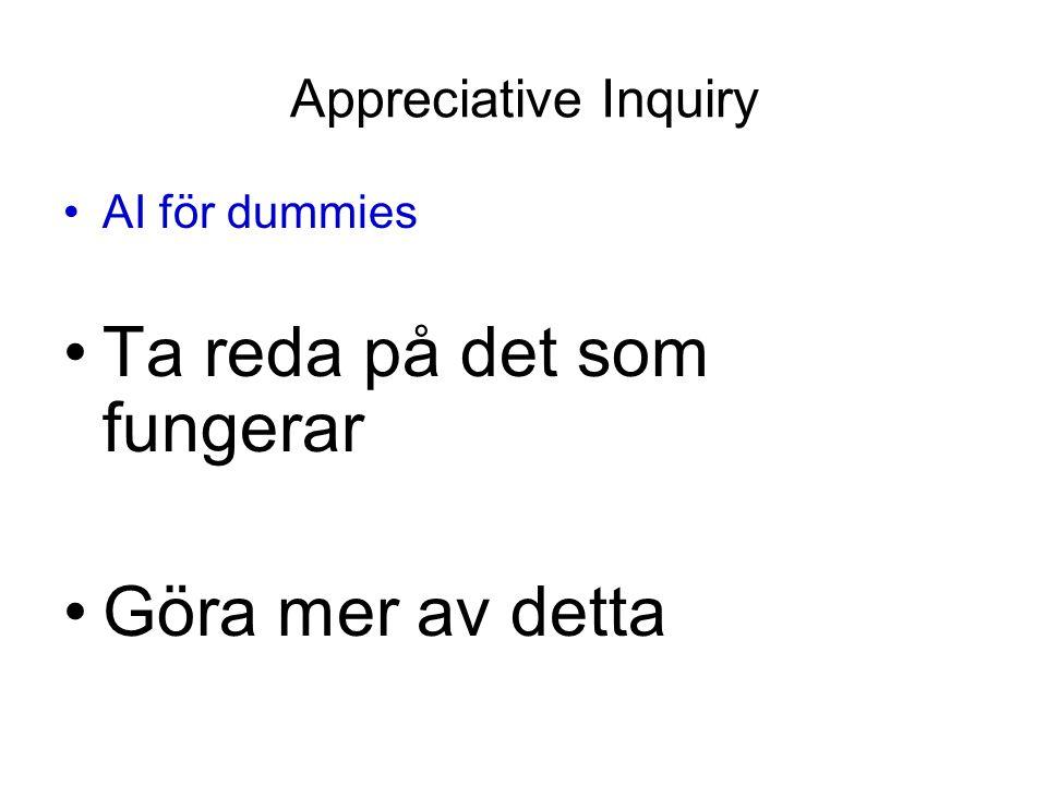 Appreciative Inquiry AI för dummies Ta reda på det som fungerar Göra mer av detta