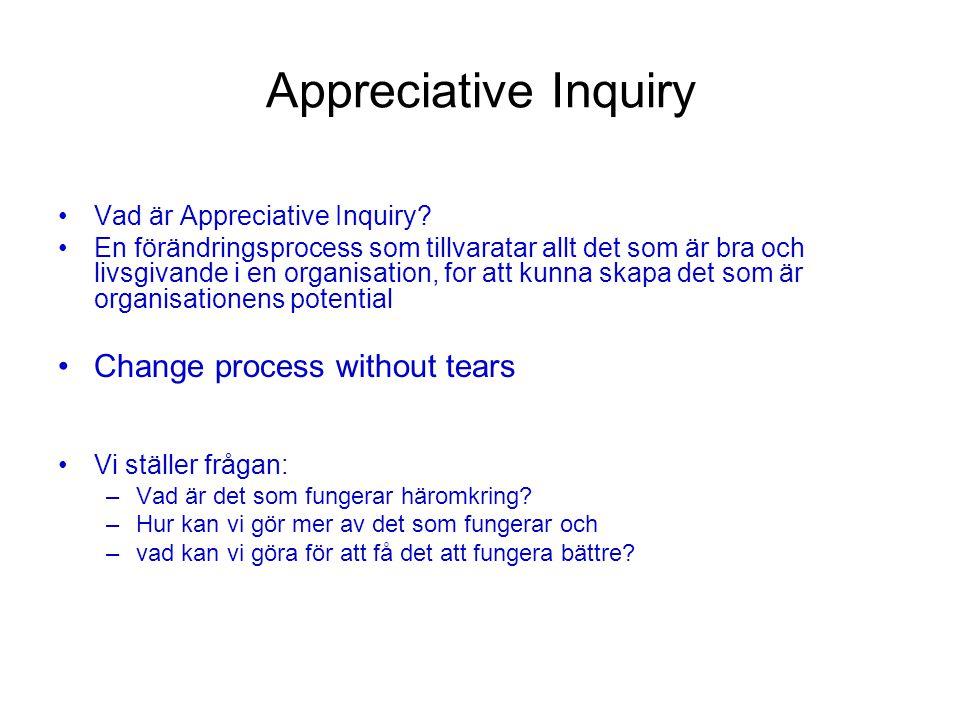 Appreciative Inquiry 4D process 3 DesignUtföra – planera - konstruera Formulera 3-5 utmanande utsagor Stretch Önskade Spännande Verkligen tror på/vill har Positiv Nutid – presens – som om det redan var Tid: 25 minuter