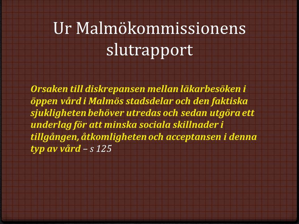 Ur Malmökommissionens slutrapport Orsaken till diskrepansen mellan läkarbesöken i öppen vård i Malmös stadsdelar och den faktiska sjukligheten behöver