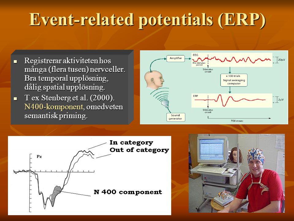 Event-related potentials (ERP) Registrerar aktiviteten hos många (flera tusen) nervceller. Bra temporal upplösning, dålig spatial upplösning. Registre