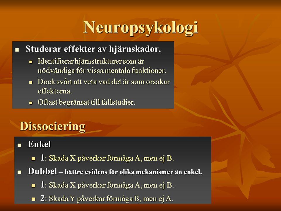 Neuropsykologi Studerar effekter av hjärnskador. Studerar effekter av hjärnskador. Identifierar hjärnstrukturer som är nödvändiga för vissa mentala fu