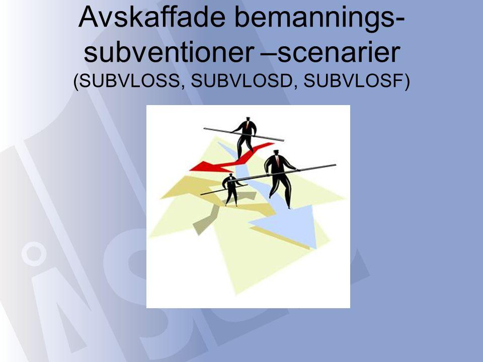 Avskaffade bemannings- subventioner –scenarier (SUBVLOSS, SUBVLOSD, SUBVLOSF)
