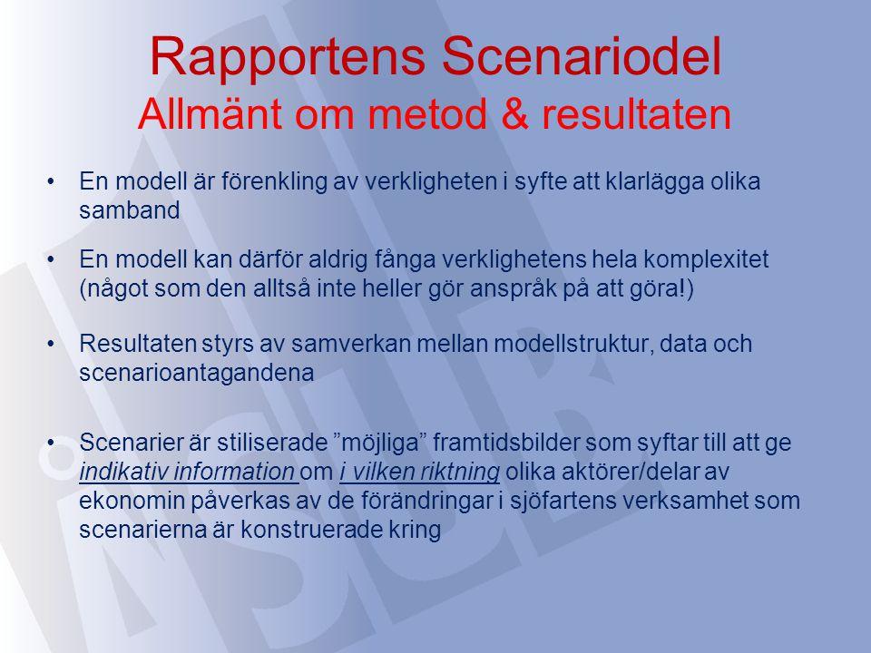 Rapportens Scenariodel Allmänt om metod & resultaten En modell är förenkling av verkligheten i syfte att klarlägga olika samband En modell kan därför
