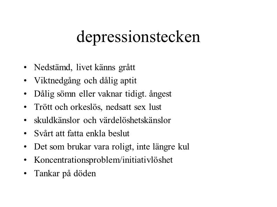 depressionstecken Nedstämd, livet känns grått Viktnedgång och dålig aptit Dålig sömn eller vaknar tidigt. ångest Trött och orkeslös, nedsatt sex lust