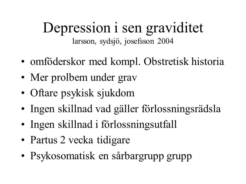 Depression i sen graviditet larsson, sydsjö, josefsson 2004 omföderskor med kompl. Obstretisk historia Mer prolbem under grav Oftare psykisk sjukdom I