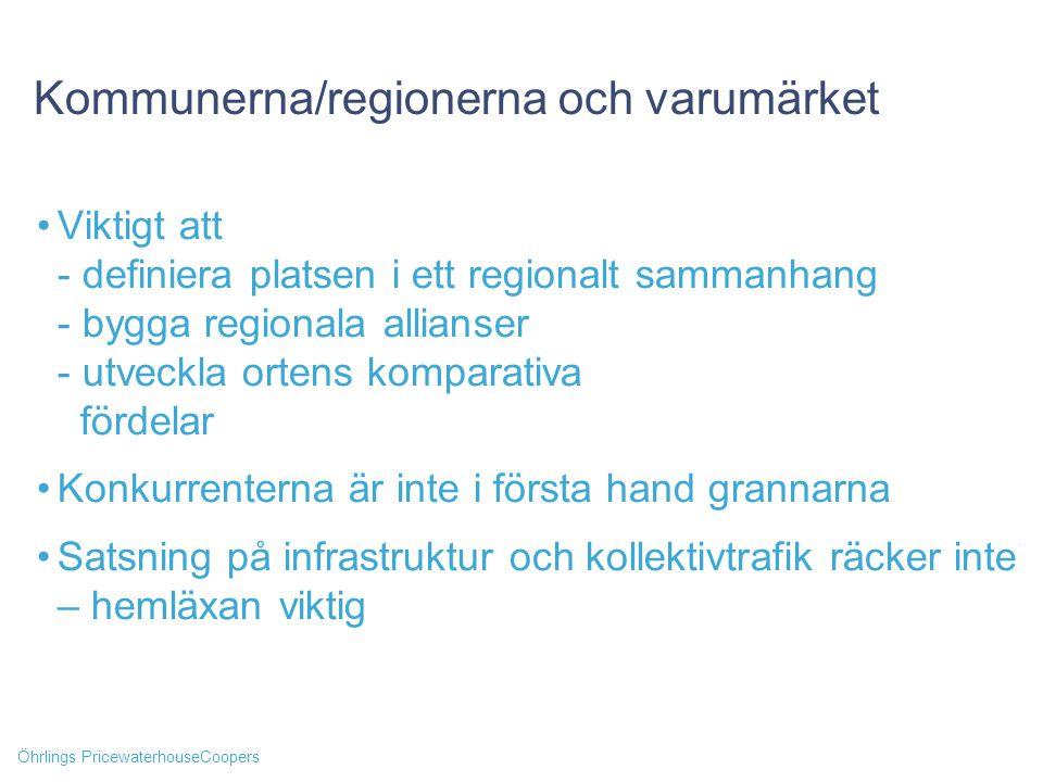 Öhrlings PricewaterhouseCoopers Kommunerna/regionerna och varumärket Viktigt att - definiera platsen i ett regionalt sammanhang - bygga regionala alli