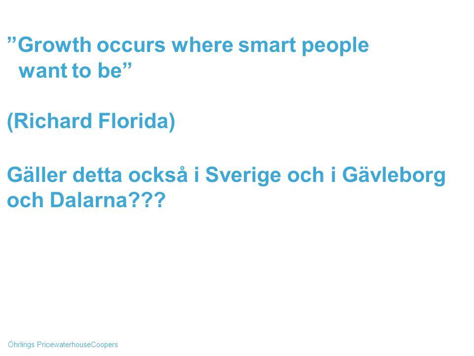 Öhrlings PricewaterhouseCoopers Growth occurs where smart people want to be (Richard Florida) Gäller detta också i Sverige och i Gävleborg och Dalarna???