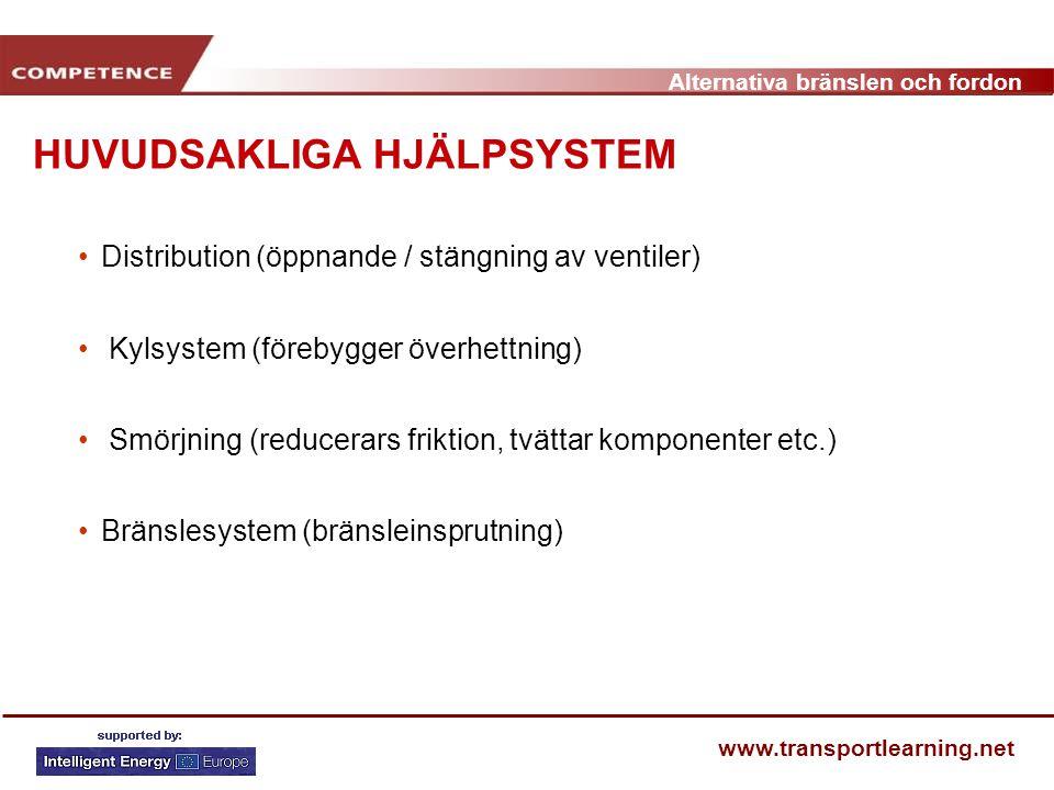 Alternativa bränslen och fordon www.transportlearning.net Distribution (öppnande / stängning av ventiler) Kylsystem (förebygger överhettning) Smörjnin
