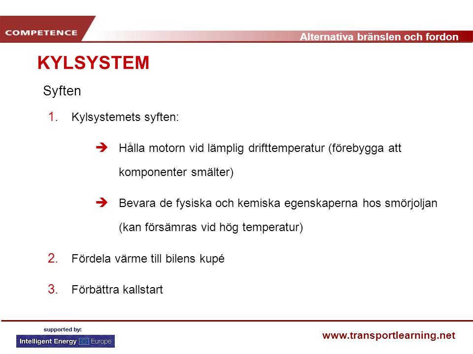 Alternativa bränslen och fordon www.transportlearning.net Syften KYLSYSTEM 1. Kylsystemets syften:  Hålla motorn vid lämplig drifttemperatur (förebyg