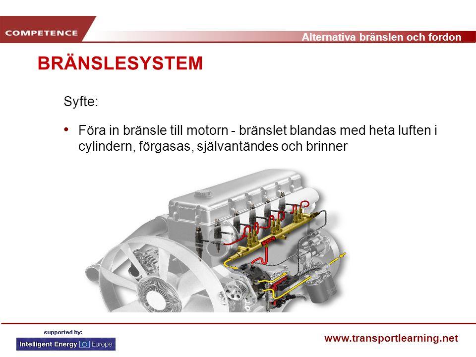 Alternativa bränslen och fordon www.transportlearning.net BRÄNSLESYSTEM Syfte: Föra in bränsle till motorn - bränslet blandas med heta luften i cylind