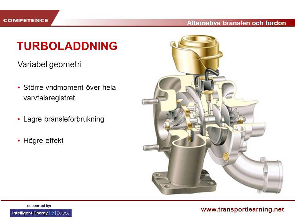 Alternativa bränslen och fordon www.transportlearning.net Variabel geometri Större vridmoment över hela varvtalsregistret Lägre bränsleförbrukning Hög