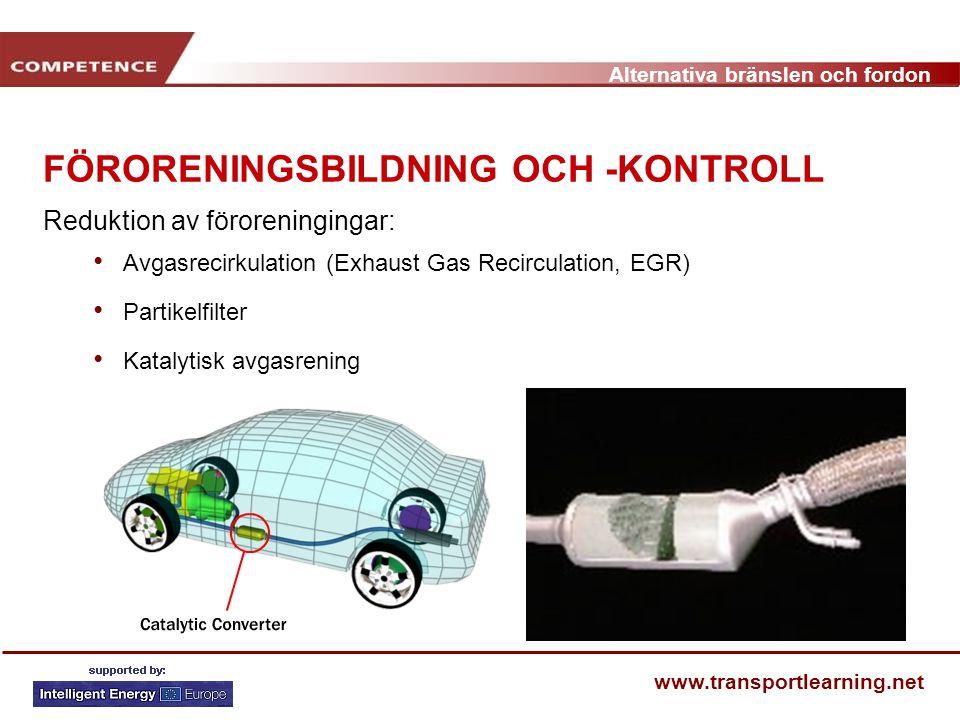 Alternativa bränslen och fordon www.transportlearning.net FÖRORENINGSBILDNING OCH -KONTROLL Reduktion av föroreningingar: Avgasrecirkulation (Exhaust