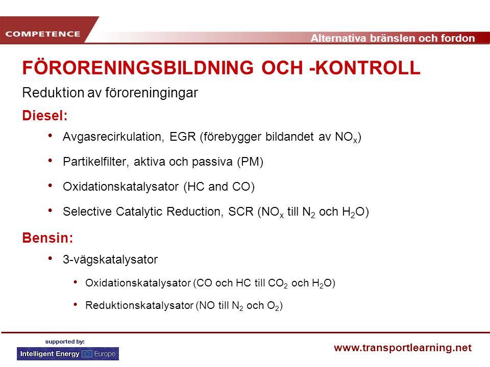 Alternativa bränslen och fordon www.transportlearning.net FÖRORENINGSBILDNING OCH -KONTROLL Reduktion av föroreningingar Diesel: Avgasrecirkulation, E
