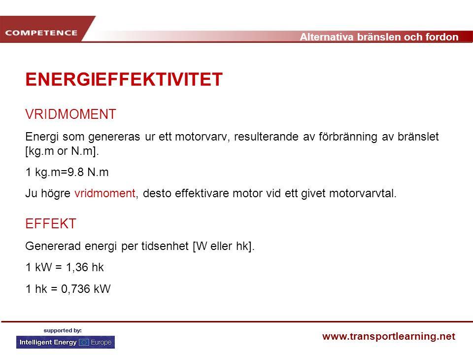 Alternativa bränslen och fordon www.transportlearning.net ENERGIEFFEKTIVITET VRIDMOMENT Energi som genereras ur ett motorvarv, resulterande av förbrän