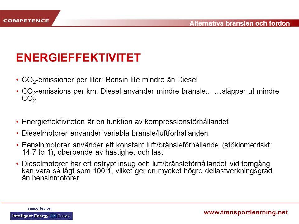 Alternativa bränslen och fordon www.transportlearning.net ENERGIEFFEKTIVITET CO 2 -emissioner per liter: Bensin lite mindre än Diesel CO 2 -emissions