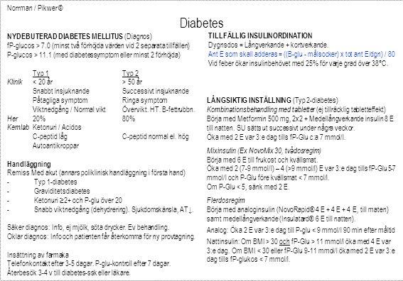Norrman / Pikwer © Diabetes NYDEBUTERAD DIABETES MELLITUS (Diagnos) fP-glucos > 7.0 (minst två förhöjda värden vid 2 separata tillfällen) P-glucos > 1