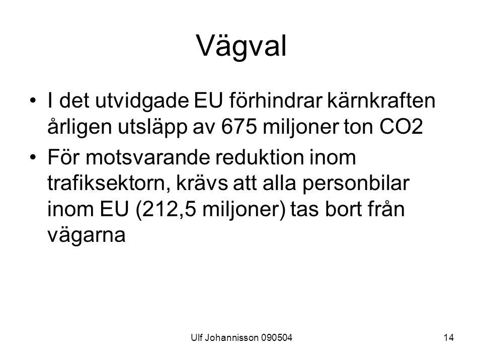 Ulf Johannisson 09050414 Vägval I det utvidgade EU förhindrar kärnkraften årligen utsläpp av 675 miljoner ton CO2 För motsvarande reduktion inom trafiksektorn, krävs att alla personbilar inom EU (212,5 miljoner) tas bort från vägarna