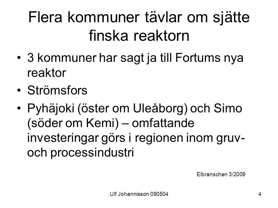 Ulf Johannisson 0905044 Flera kommuner tävlar om sjätte finska reaktorn 3 kommuner har sagt ja till Fortums nya reaktor Strömsfors Pyhäjoki (öster om Uleåborg) och Simo (söder om Kemi) – omfattande investeringar görs i regionen inom gruv- och processindustri Elbranschen 3/2009