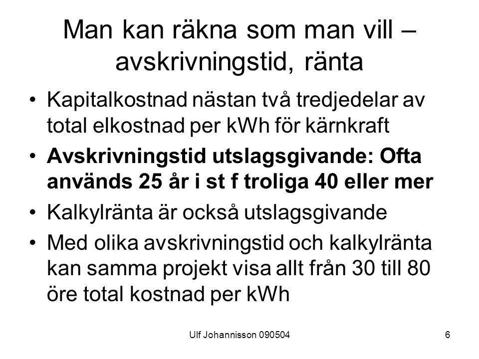 Ulf Johannisson 0905046 Man kan räkna som man vill – avskrivningstid, ränta Kapitalkostnad nästan två tredjedelar av total elkostnad per kWh för kärnkraft Avskrivningstid utslagsgivande: Ofta används 25 år i st f troliga 40 eller mer Kalkylränta är också utslagsgivande Med olika avskrivningstid och kalkylränta kan samma projekt visa allt från 30 till 80 öre total kostnad per kWh