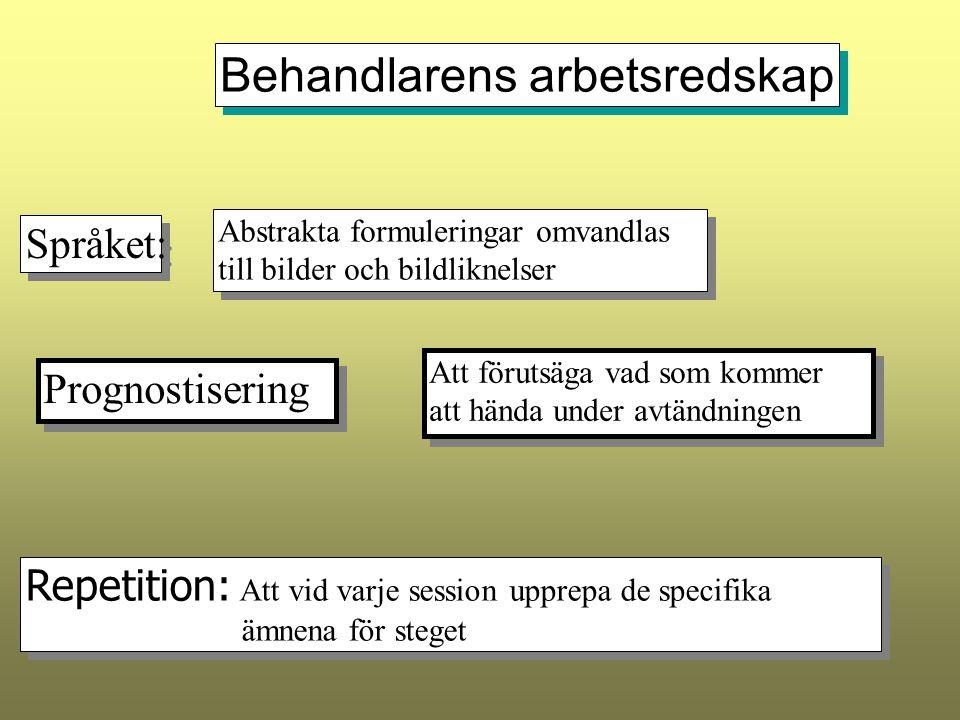 Behandlarens arbetsredskap Språket: Abstrakta formuleringar omvandlas till bilder och bildliknelser Abstrakta formuleringar omvandlas till bilder och