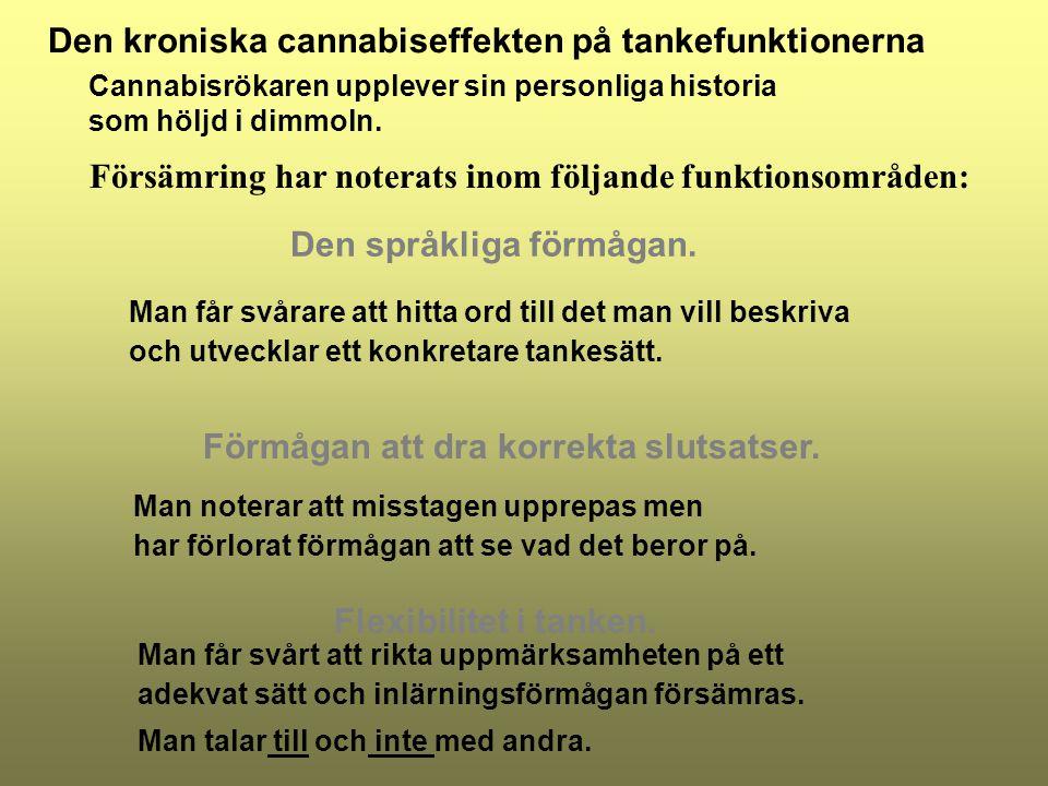 Förmågan att dra korrekta slutsatser. Cannabisrökaren upplever sin personliga historia som höljd i dimmoln. Försämring har noterats inom följande funk