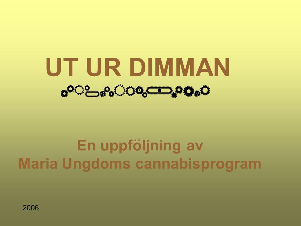 UT UR DIMMAN En uppföljning av Maria Ungdoms cannabisprogram 2006