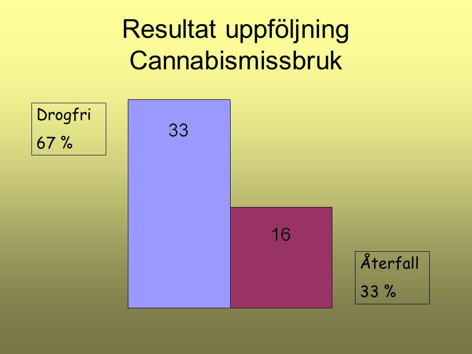 Resultat uppföljning Cannabismissbruk Drogfri 67 % Återfall 33 %