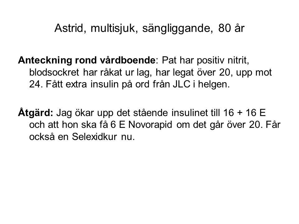 Astrid vid ett annat tillfälle Kontaktorsak: Allmänt sämre Aktuellt: Har varit mera irritabel och lite aggressiv på sistone.