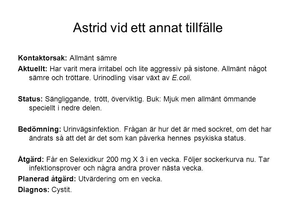 Astrid vid ett annat tillfälle Kontaktorsak: Allmänt sämre Aktuellt: Har varit mera irritabel och lite aggressiv på sistone. Allmänt något sämre och t