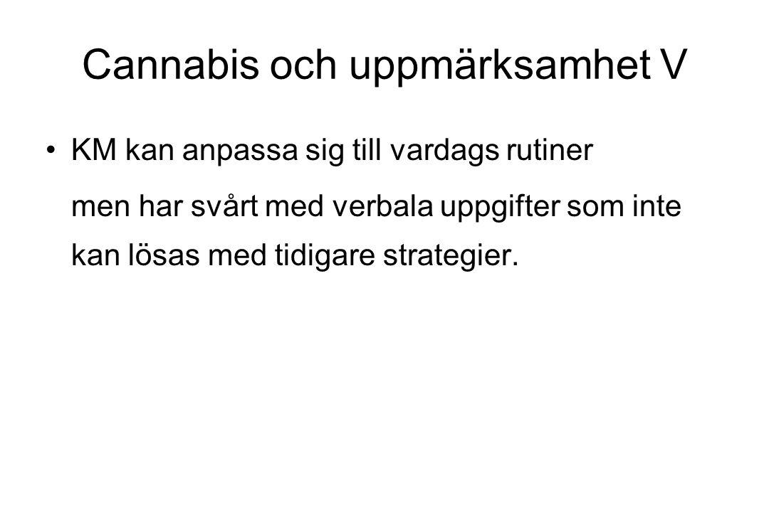 Cannabis och uppmärksamhet V KM kan anpassa sig till vardags rutiner men har svårt med verbala uppgifter som inte kan lösas med tidigare strategier.