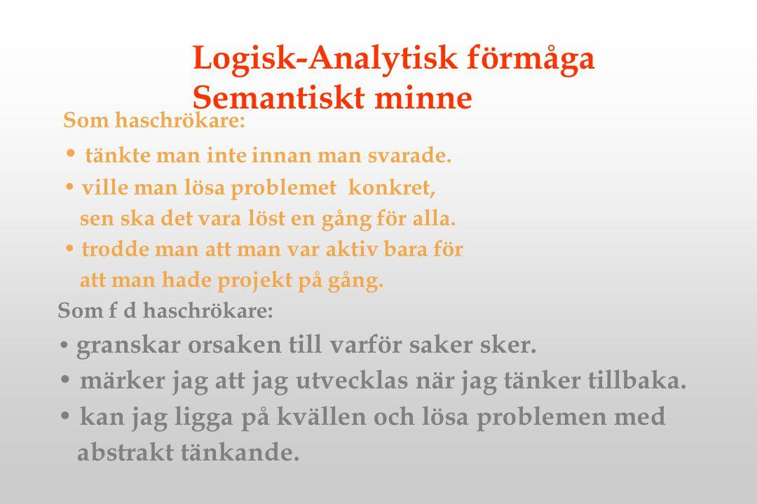 Logisk-Analytisk förmåga Semantiskt minne Som haschrökare: tänkte man inte innan man svarade. ville man lösa problemet konkret, sen ska det vara löst