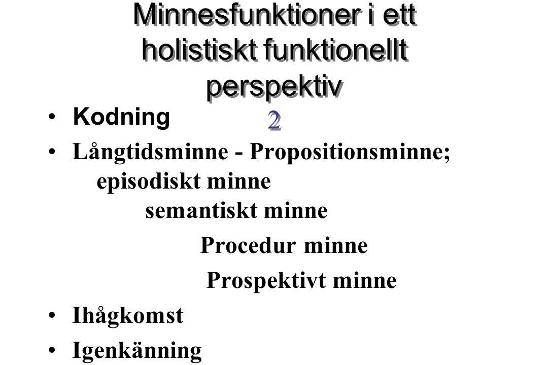 Minnesfunktioner i ett holistiskt funktionellt perspektiv 2 Kodning Långtidsminne - Propositionsminne; episodiskt minne semantiskt minne Procedur minn
