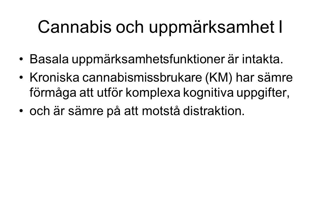 Cannabis och uppmärksamhet I Basala uppmärksamhetsfunktioner är intakta. Kroniska cannabismissbrukare (KM) har sämre förmåga att utför komplexa kognit