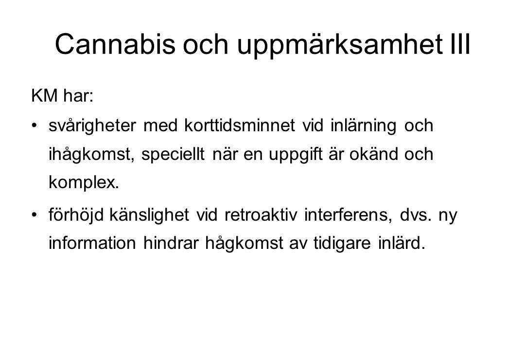 Cannabis och uppmärksamhet III KM har: svårigheter med korttidsminnet vid inlärning och ihågkomst, speciellt när en uppgift är okänd och komplex. förh