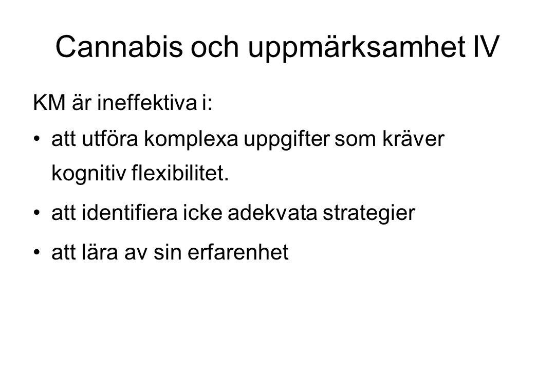 Cannabis och uppmärksamhet IV KM är ineffektiva i: att utföra komplexa uppgifter som kräver kognitiv flexibilitet. att identifiera icke adekvata strat